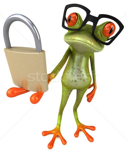 Stok fotoğraf: Eğlence · kurbağa · güvenlik · yeşil · çevre · asma · kilit