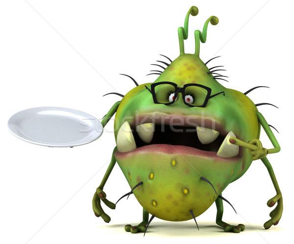 Jókedv bacilus 3d illusztráció egészség tányér eszik Stock fotó © julientromeur