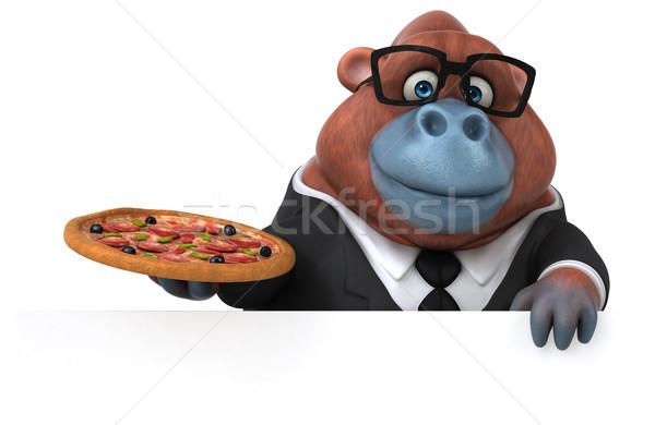 Eğlence 3d illustration iş doğa pizza işadamı Stok fotoğraf © julientromeur