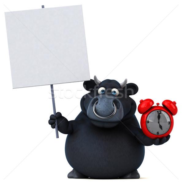 Siyah boğa 3d illustration saat saç inek Stok fotoğraf © julientromeur