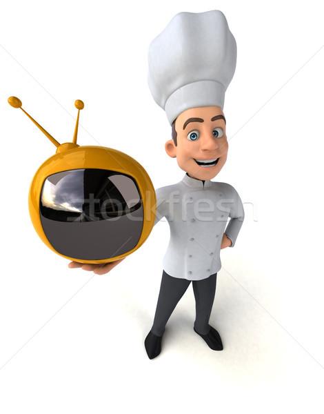 Jókedv szakács televízió konyha képernyő fehér Stock fotó © julientromeur