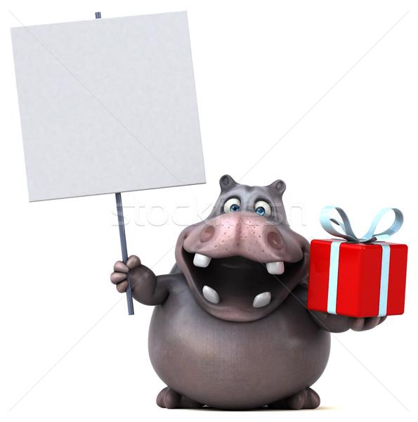 Leuk nijlpaard vet aanwezig christmas grafische Stockfoto © julientromeur