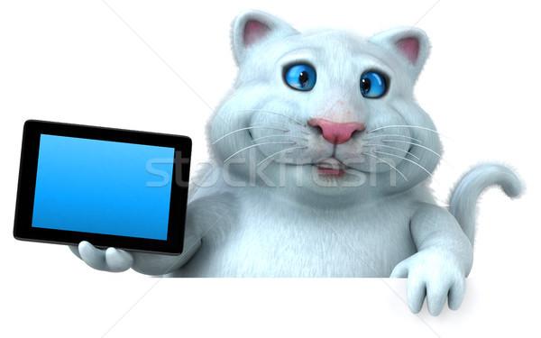 Jókedv macska 3d illusztráció fehér média rajz Stock fotó © julientromeur