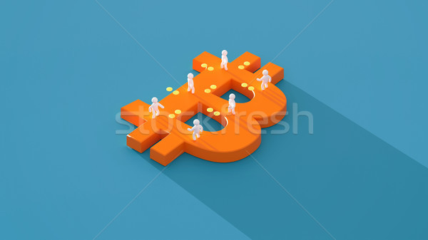 Geld bitcoin 3d illustration internet scherm financieren Stockfoto © julientromeur