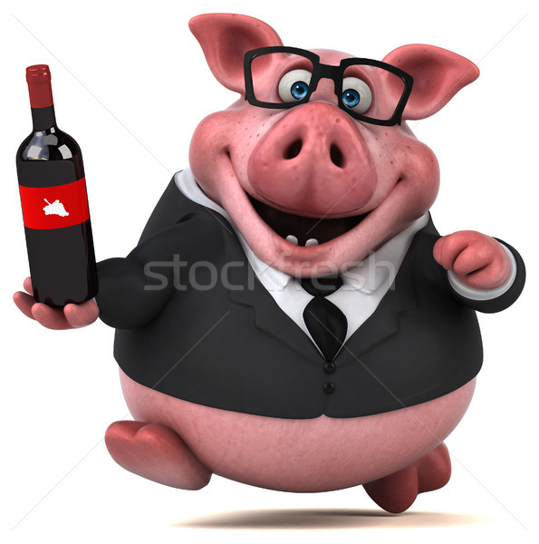 Stok fotoğraf: Eğlence · domuz · 3d · illustration · şarap · işadamı · içmek