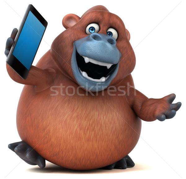 Eğlence orangutan 3d illustration telefon doğa Afrika Stok fotoğraf © julientromeur