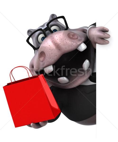Zabawy hipopotam 3d ilustracji garnitur tłuszczu zwierząt Zdjęcia stock © julientromeur