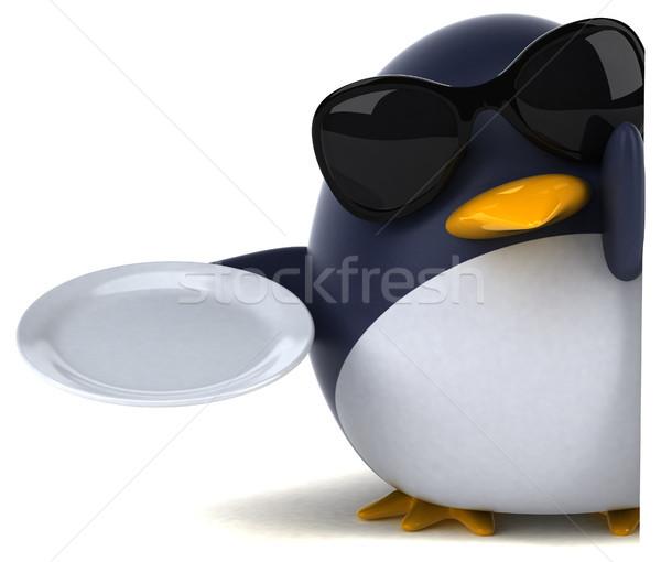 Jókedv pingvin 3d illusztráció étel madár tányér Stock fotó © julientromeur
