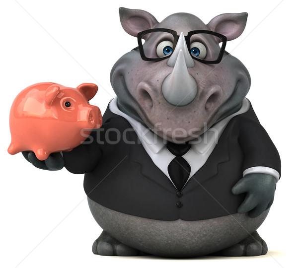 Jókedv orrszarvú 3d illusztráció üzletember öltöny pénzügy Stock fotó © julientromeur