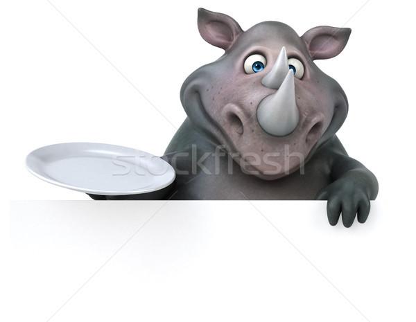 Jókedv orrszarvú 3d illusztráció étel tányér kövér Stock fotó © julientromeur