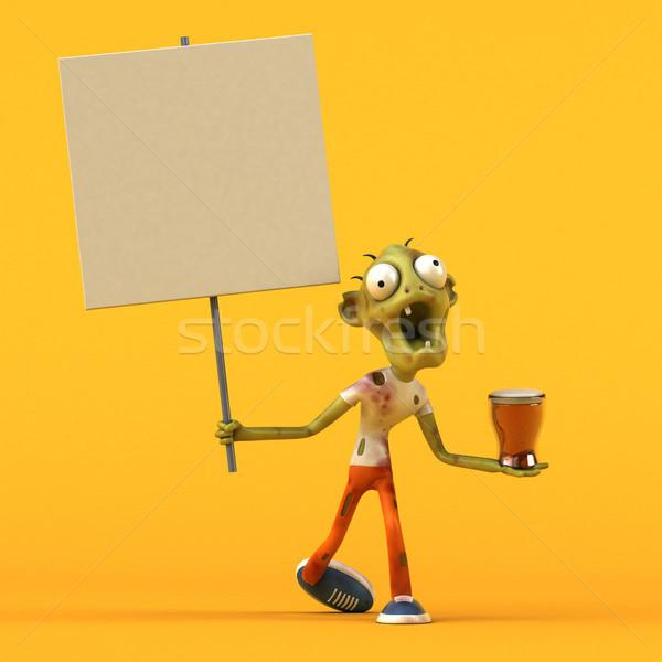 Leuk zombie 3d illustration man bier drinken Stockfoto © julientromeur