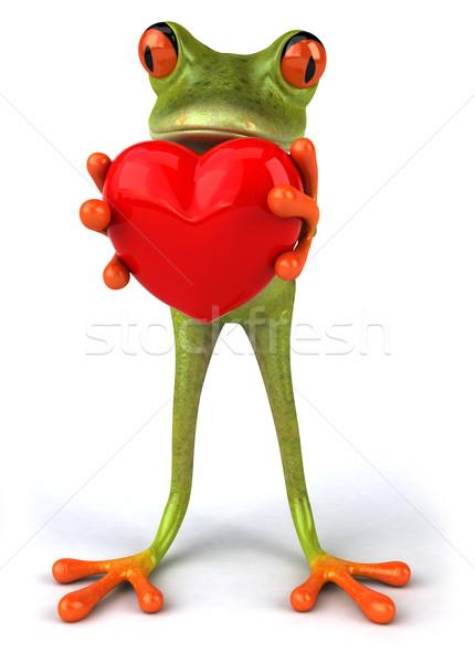 Сток-фото: лягушка · любви · сердце · зеленый · среде · 3D