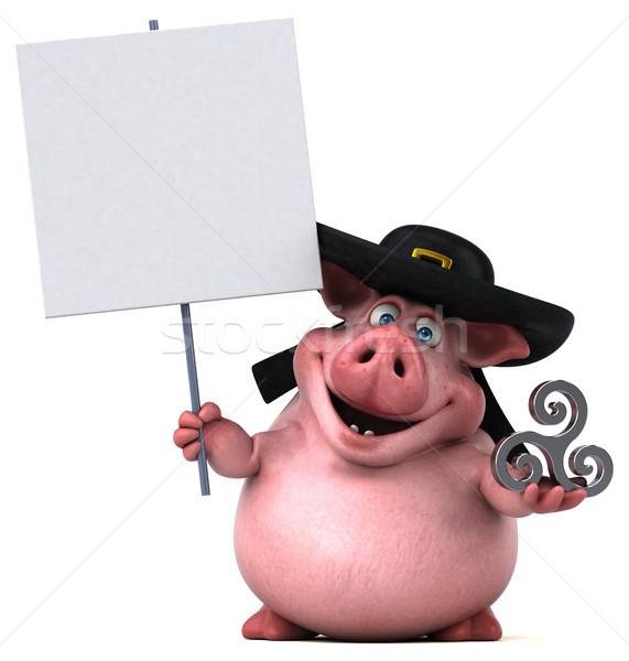 весело свинья 3d иллюстрации продовольствие жира Hat Сток-фото © julientromeur