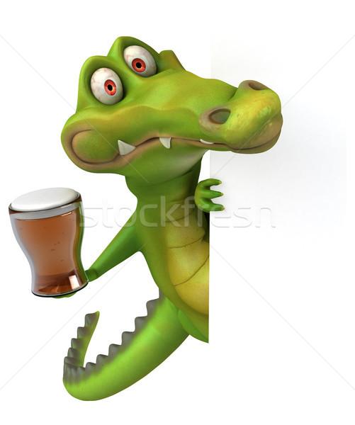 Crocodilo diversão feliz cerveja projeto arte Foto stock © julientromeur