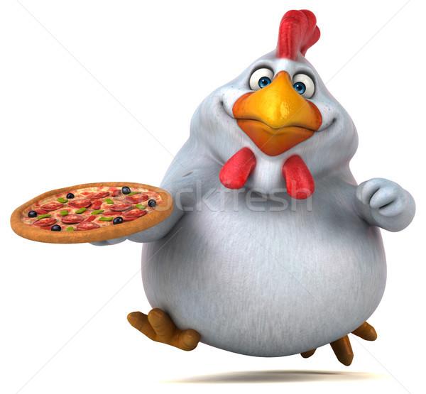 Eğlence tavuk 3d illustration pizza dizayn kuş Stok fotoğraf © julientromeur