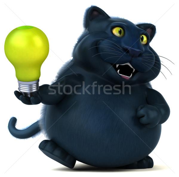 Jókedv macska 3d illusztráció zöld állat rajz Stock fotó © julientromeur