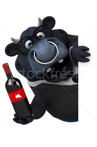 Сток-фото: черный · бык · 3d · иллюстрации · бизнесмен · пить · костюм