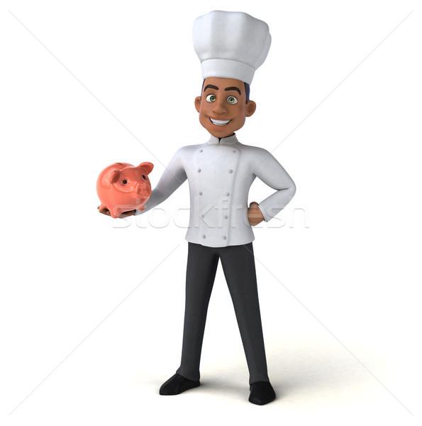 Jókedv szakács konyha pénzügy fehér főzés Stock fotó © julientromeur