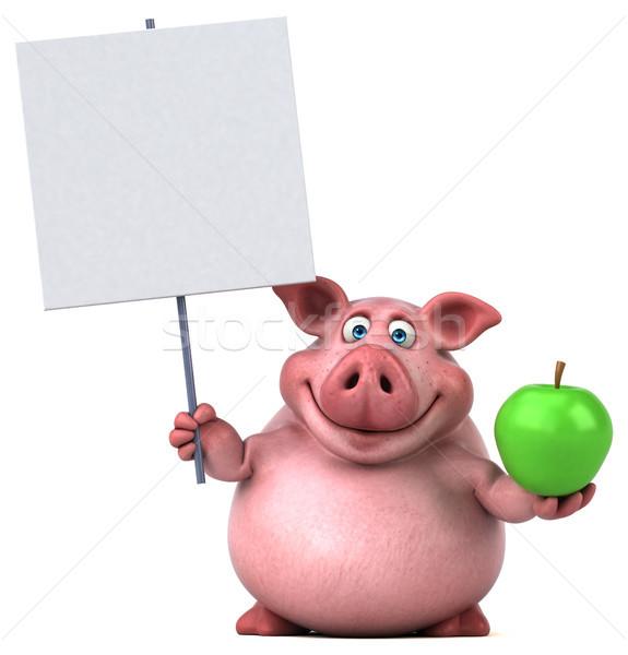 весело свинья 3d иллюстрации продовольствие фрукты жира Сток-фото © julientromeur