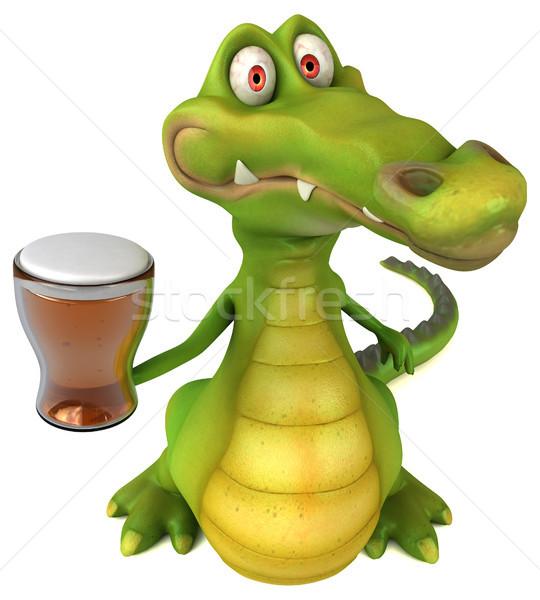 Krokodil eğlence mutlu bira dizayn sanat Stok fotoğraf © julientromeur