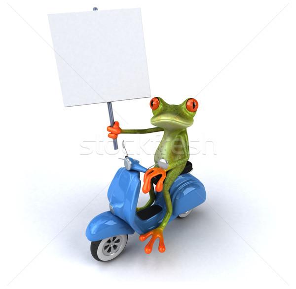 Eğlence kurbağa model sanat bisiklet yeşil Stok fotoğraf © julientromeur