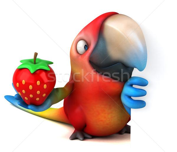 Eğlence papağan göz kuş yeşil çilek Stok fotoğraf © julientromeur