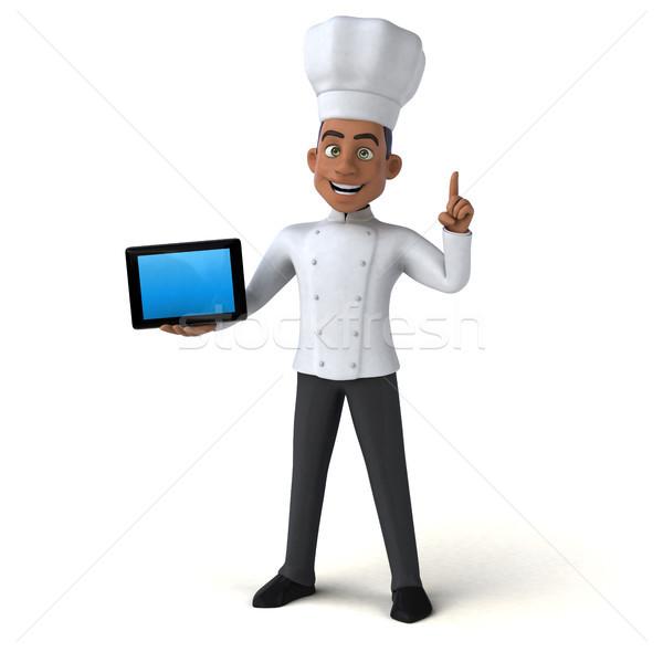 Jókedv szakács étterem fekete állás fehér Stock fotó © julientromeur
