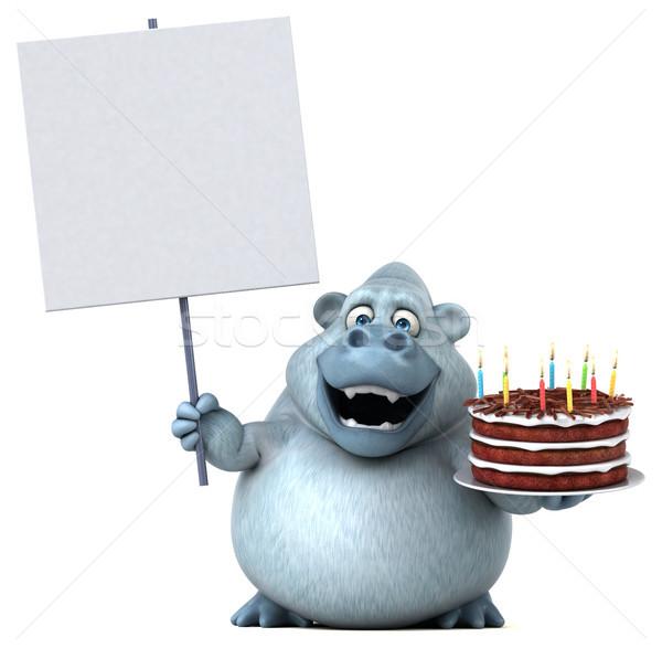 Zabawy małpa 3d ilustracji żywności czekolady ciasto Zdjęcia stock © julientromeur
