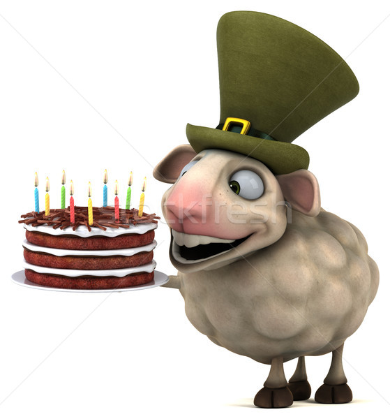 Eğlence koyun 3d illustration doğum günü kek mum Stok fotoğraf © julientromeur