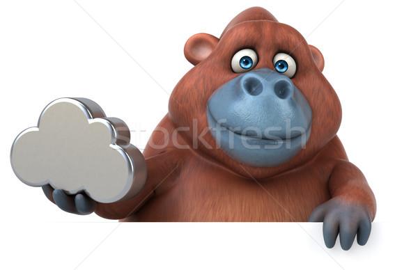 Divertimento illustrazione 3d natura africa scimmia nube Foto d'archivio © julientromeur