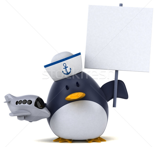 весело пингвин 3d иллюстрации птица плоскости смешные Сток-фото © julientromeur