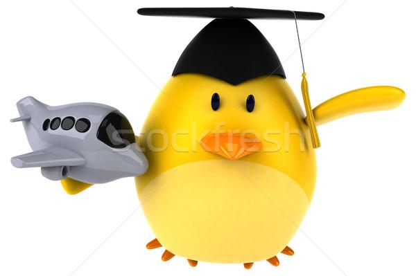 Amarelo pássaro ilustração 3d laranja avião voar Foto stock © julientromeur
