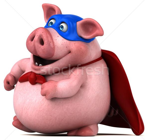 Diversão porco ilustração 3d máscara gordura rosa Foto stock © julientromeur