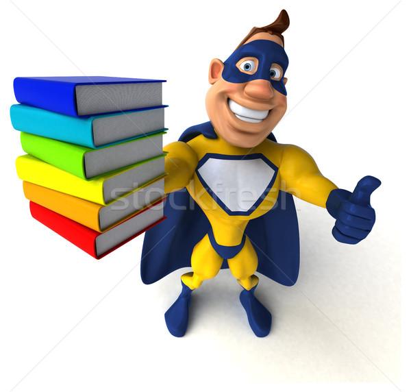 Eğlence süper kahraman adam kitaplar vücut hızlandırmak Stok fotoğraf © julientromeur