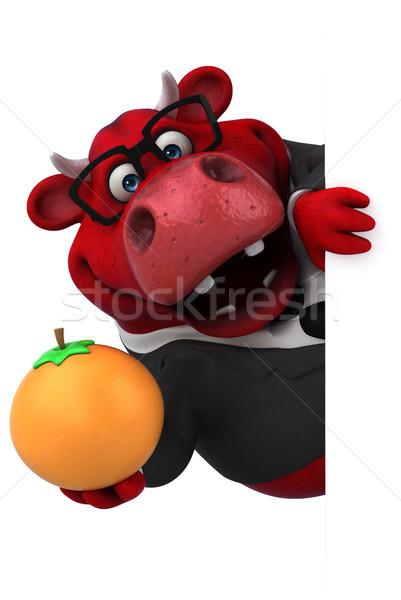 красный бык 3d иллюстрации волос фрукты бизнесмен Сток-фото © julientromeur