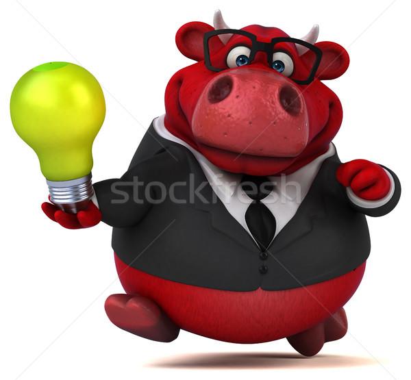 Piros bika 3d illusztráció haj tehén üzletember Stock fotó © julientromeur
