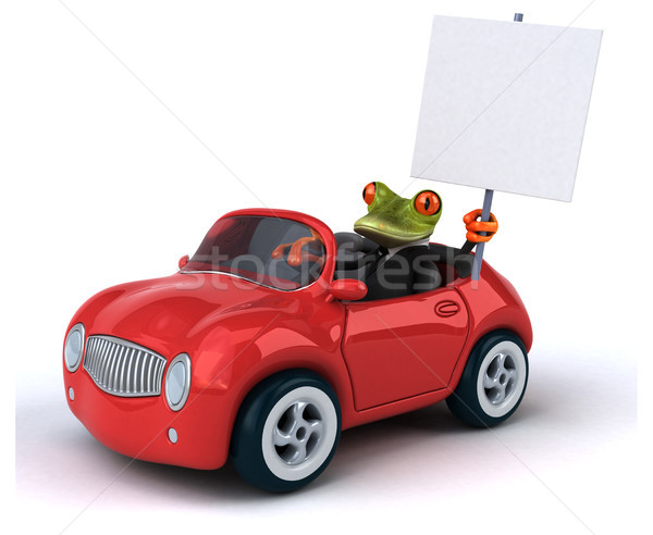 Leuk kikker business metaal groene snelheid Stockfoto © julientromeur