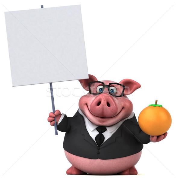 Stok fotoğraf: Eğlence · domuz · 3d · illustration · meyve · işadamı · turuncu