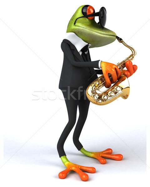 Сток-фото: весело · лягушка · зеленый · тропические · 3D · иллюстрация