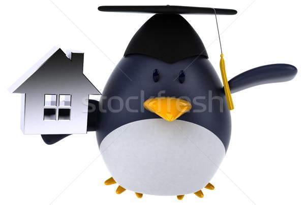 Zabawy Pingwin 3d ilustracji domu domu ptaków Zdjęcia stock © julientromeur
