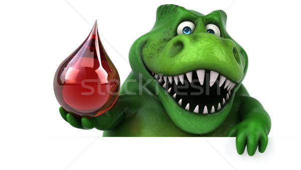 Сток-фото: весело · динозавр · 3d · иллюстрации · красный · зубов · падение