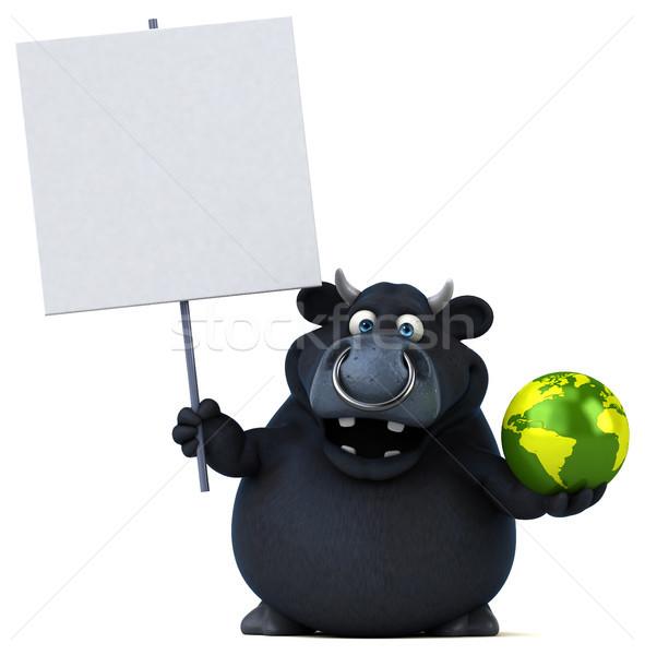 黒 牛 3次元の図 髪 世界 牛 ストックフォト © julientromeur
