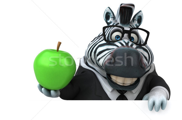 Leuk zebra 3d illustration appel groene pak Stockfoto © julientromeur