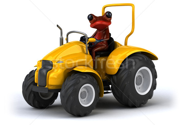 Jókedv béka 3d illusztráció piros traktor mezőgazdaság Stock fotó © julientromeur