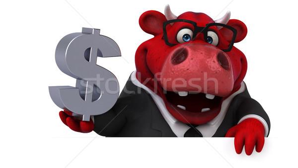 Rood stier 3d illustration haren zakenman pak Stockfoto © julientromeur
