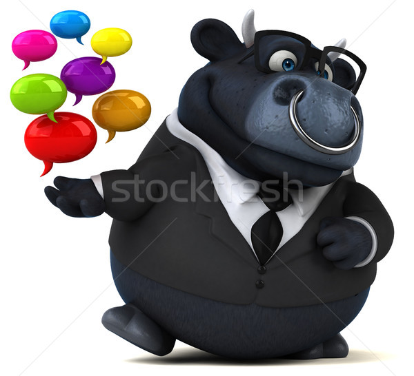 Zwarte stier 3d illustration business koe zakenman Stockfoto © julientromeur