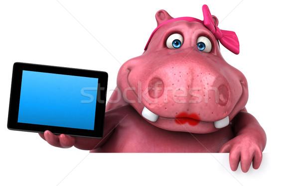розовый гиппопотам 3d иллюстрации весело жира СМИ Сток-фото © julientromeur