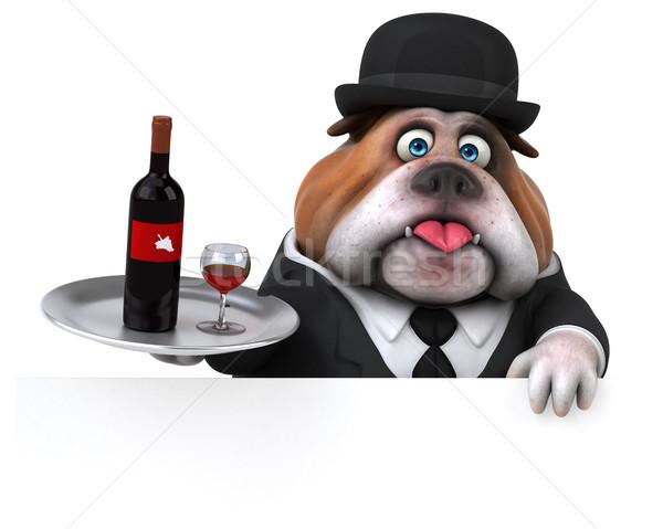 ストックフォト: 楽しい · ブルドッグ · 3次元の図 · ビジネス · 犬 · ビジネスマン