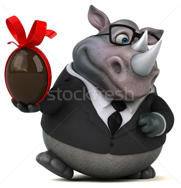 Diversão rinoceronte ilustração 3d chocolate ovo empresário Foto stock © julientromeur