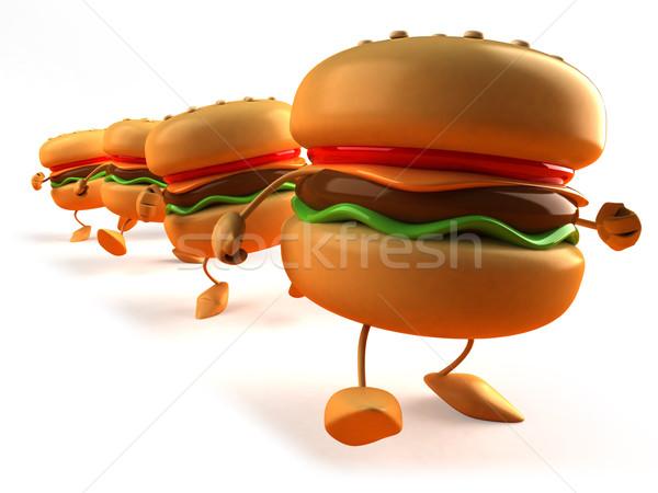 Hamburger étel kenyér hús kövér eszik Stock fotó © julientromeur